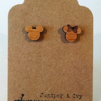 Mickey & Minnie Mouse Laser Engraved Earrings
