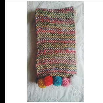 chunky knit pompom scarf by LoveFromLuna on Etsy