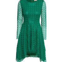 H&M - Long-sleeved Lace Dress - Green - Ladies