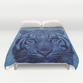 Tiger's Face Duvet Cover by Erika Kaisersot