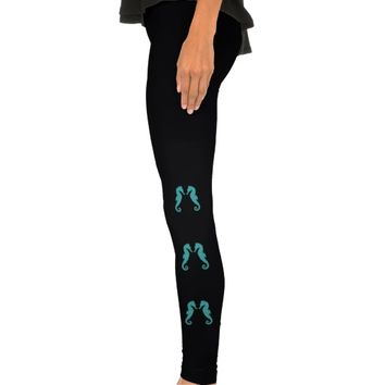Turquoise aqua seahorses aquatic love Leggings
