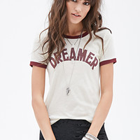 FOREVER 21 Dreamer Graphic Ringer Tee Cream/Burgundy