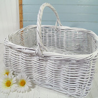 The Perfect Wedding Gift Card Basket - Vintage Oversized GrapeVine Woven Extra Large White Wicker Tote - Spacious Shabby Chippy Paint Bin