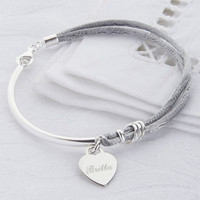 Personalised Silk And Sterling Silver Bangle