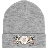 River Island Womens Grey marl embellished beanie hat