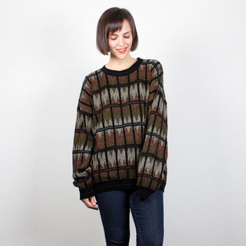 Vintage 1990s Black Brown Green Sweater Oversized Sweater Pullover Jumper 90s Boyfriend Sweater Geometric Striped Cozy Knit L XL Extra Large