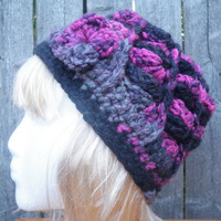 Slouchy chunky crochet beanie with little crochet flower