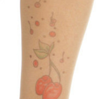 CommandHose Sheer Thigh High Tattooed Nylons with Cherry Print Design & Contrast Stay Up Tops