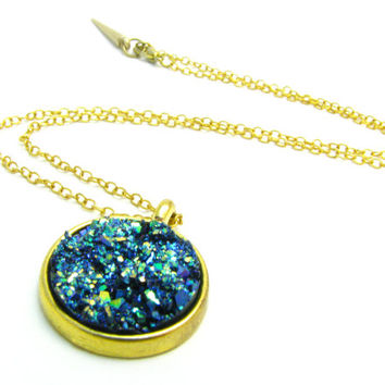 Blue Deep Sea Druzy Pendant Necklace - Available In Silver Or Gold - Delicate & Simple Fashion Jewelry, Great Gift For Her