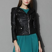 Chicwish Faux Leather Quilted Biker Jacket Black