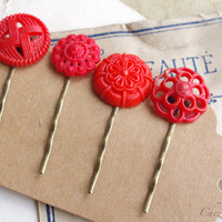 Red Hair Pin, Button Bobby Pin, Vintage Button Hair Pin, Hair Clip, Bobby Pins, Vintage Inspired Hair Pins