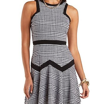 Fluted Houndstooth Skater Dress by Charlotte Russe - Med Gray Combo
