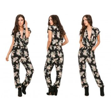 Floral Darkness Jumpsuit - Black - SALE