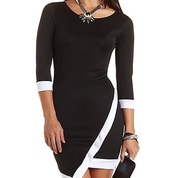 Color Block Asymmetrical Dress by Charlotte Russe - Black/White