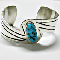 Vintage 90s Sterling Silver Turqouise Cuff Bracelet