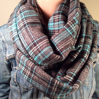 Handmade Infinity Scarf Plaid Flannel - Double Layer Super Warm!  Teal, Gray and Black Tartan,Christmas Gift