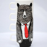 Hand painted set of 4 espresso cups - Mr Bear