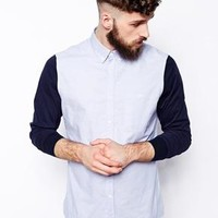 ASOS | ASOS Shirt In Long Sleeve With Contrast Jersey Sleeve at ASOS