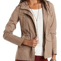 Lightweight Hooded Anorak Jacket by Charlotte Russe - Khaki