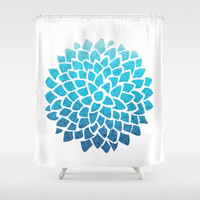 Blue Dahlia Shower Curtain,  Teal Sea Glass Dahlia - mosaic pattern  - floral, blue,  bathroom coastal modern decor