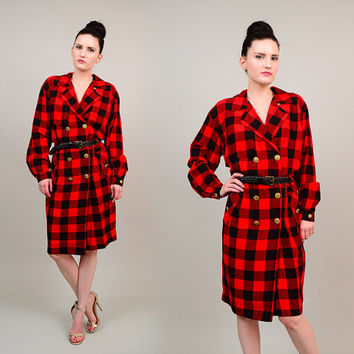 Vintage 80s 90s Red Black Checkered Buffalo Plaid Double Breasted Military Blazer Secretary Dress Gold Buttons Small S