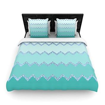 "Kess InHouse Monika Strigel ""Avalon Mint Ombre"" Aqua Green Twin Woven Duvet Cover, 68 by 88-Inch"