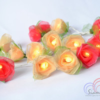 Red and White Fairy String Lights Flower Lights For Bedroom and Wedding Decoration 20 Lights /Set