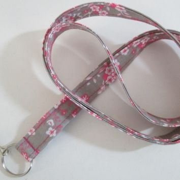 Pink and Gray Lanyard with Key Ring, Key Chain, Key Lanyard for students, teachers, coaches, more