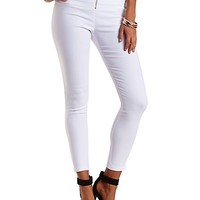 High-Waisted Skinny Trousers with Zipper by Charlotte Russe - White