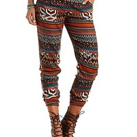 Ikat Tribal Print Jogger Pants by Charlotte Russe - Dark Orange Combo