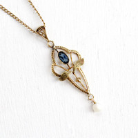 Antique 10k Rose Gold Simulated Sapphire Edwardian Necklace - Vintage Lavalier Art Nouveau Fine Pendant Early 1900s Jewelry