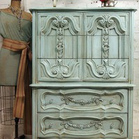 [sold]  Lovely Furniture / Vintage Painted Cottage Chic Shabby Aqua French by paintedcottages