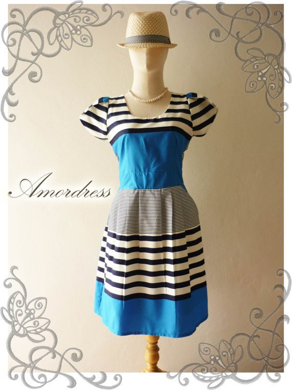 NEW DESIGN ...Amor Vintage Inspired Vintage Retro Chic Blue Stripe Wedding Prom Cocktail Party Dress Everyday Dress -Size M-