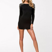 Bodycon Jersey Dress - Club L - Black/Cream - Party Dresses - Clothing - Women - Nelly.com