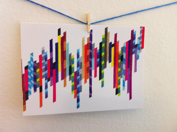 "Colorful Art Stationery - ""Crazy Lines C"" Graph Drawing - Notecards Set"