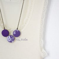 Dark Purple Necklace, Fiber Necklace, Button necklace, Fabric Necklace, White lace Necklace, necklace for woman