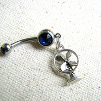 Retro Fan Belly Button Ring, Small Old School Air Fan Bellybutton Ring, Navel Piercing Belly Button Jewelry