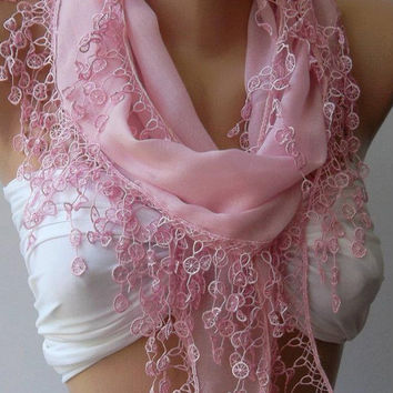 ON SALE /Pink /Cotton/ Traditional Turkish Fabric -Anatolian Shawl/Scarf.