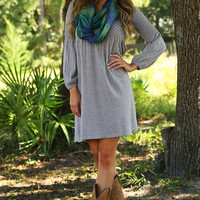 Stay Out Too Late Dress: Heather Gray