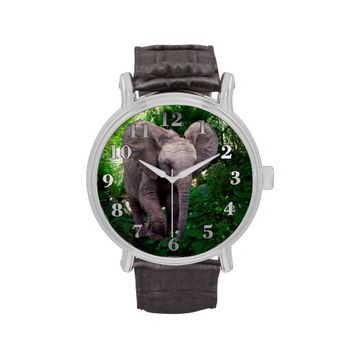 Baby Elephant Vintage Leather Strap Watch