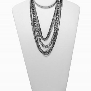 MIXED CHAIN RHINESTONE NECKLACE