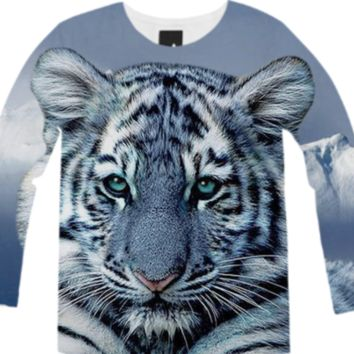 White Tiger Long Sleeve Shirt created by ErikaKaisersot | Print All Over Me