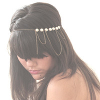 Bridal Headband Hair Jewelry Pearl Antique Bronze Chain Headwrap Headpiece 3 Loop Burlesque - by Sophia Touassa Millinery & Accessories