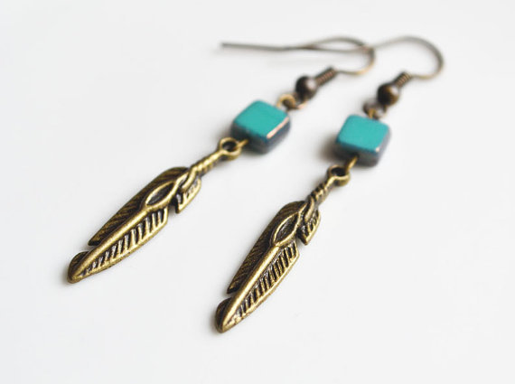 Bohemian Feather Earrings. Turquoise Picasso Czech Glass. Petite Boho Style Earrings. Brass Hippie Feather