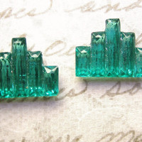 vintage deco glass lime emerald green faceted beveled  city step stones (2)