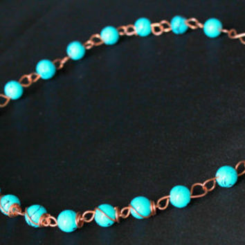 Beaded Necklace Wire wrapped Copper Metal with Turquoise beads handmade luxe style Jewelry