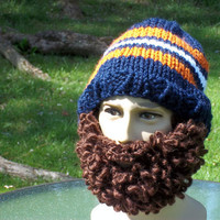 Bearded Hat Beanie Mustache Hat Blue Orange White Brown Beard