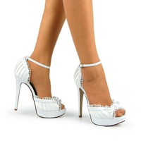 Peep Toe Bow Ankle Strap Platform Pumps