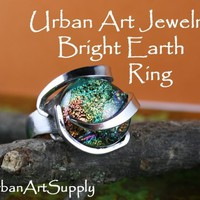 Bright Earth Ring With Dichroic Glass Urban Art Jewelry