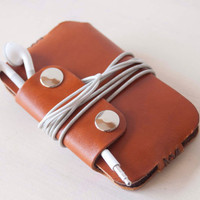 IPod Touch case, IPhone 3 case, IPhone 4 case, IPhone 4S case - Brown leather sleeve